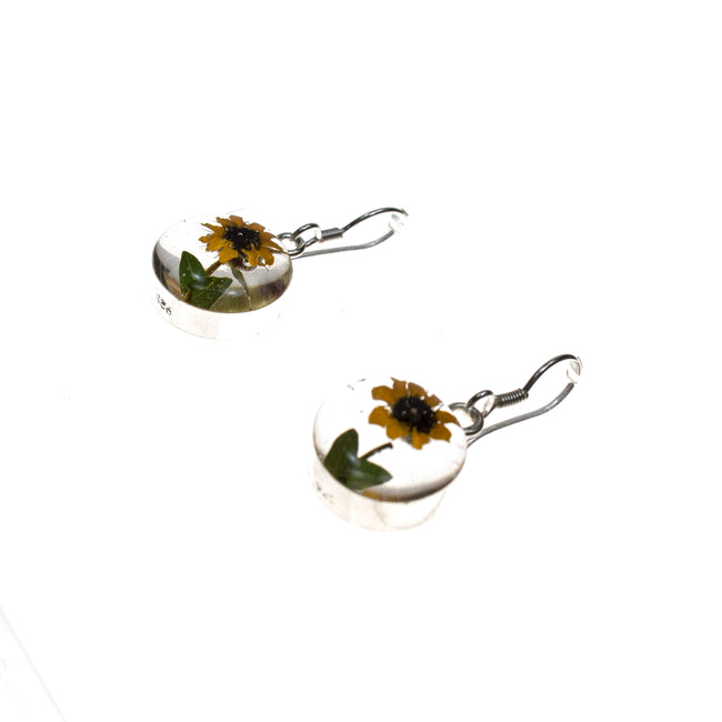 Sterling Silver Circle Resin Sunflower Earrings