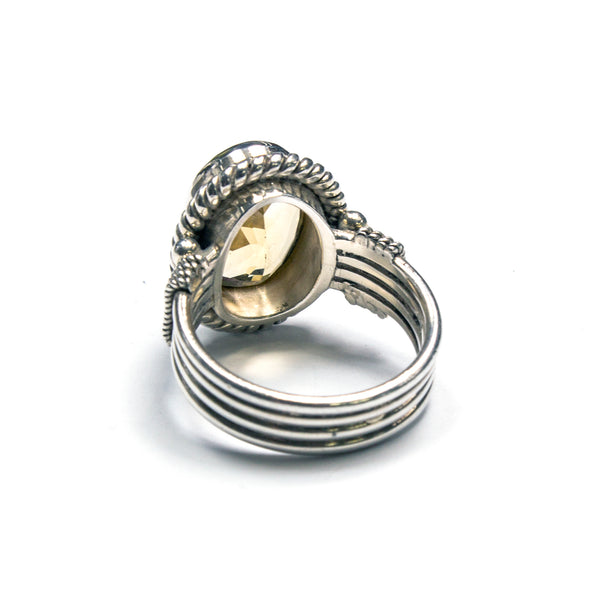 SS 4-banded Citrine Rope Ring Size 7