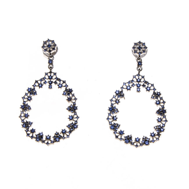 SS Created Sapphire Lacey Pear Drop Earrings