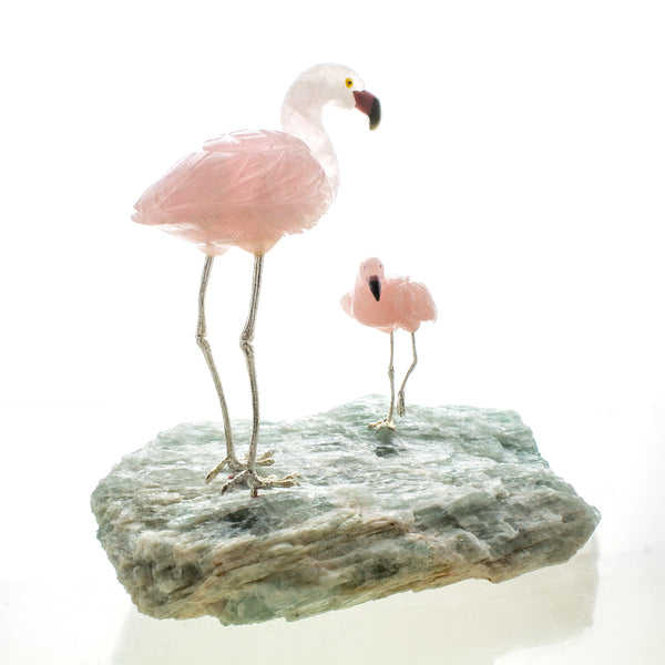 Rose Quartz and Aquamarine Carved Flamingo Sculpture