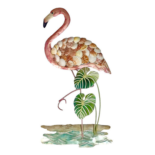 Flamingo with Shells Metal Wall Art