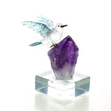 Carved Fluorite, Quartz & Amethyst Hummingbird Sculpture