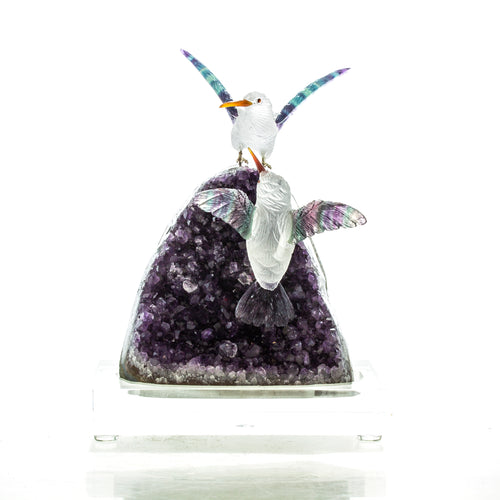 Carved Quartz & Fluorite Hummingbirds on Amethyst Geode Sculpture