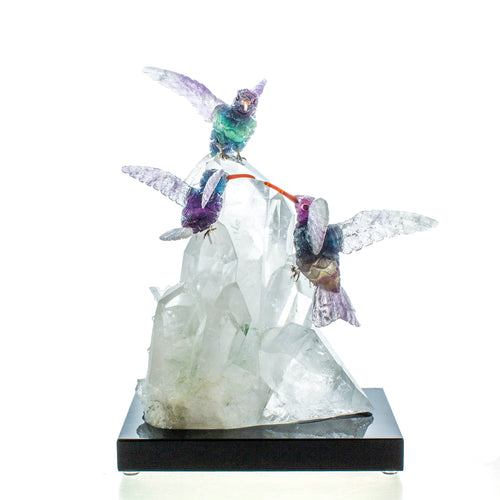 Carved Fluorite Hummingbird Trio on Crystal Cluster Sculpture
