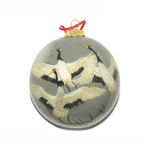 Cranes in Flight Hand-painted Ornament