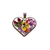 Sterling Silver Rope Heart Resin Bouquet Pendant