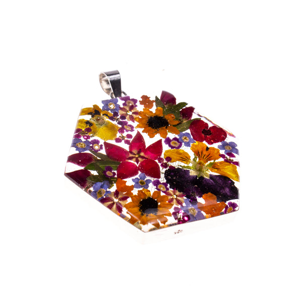 Sterling Silver Hexagon Resin Bouquet Pendant