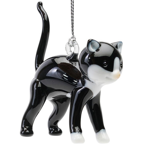 Glass Tuxedo Cat Ornament