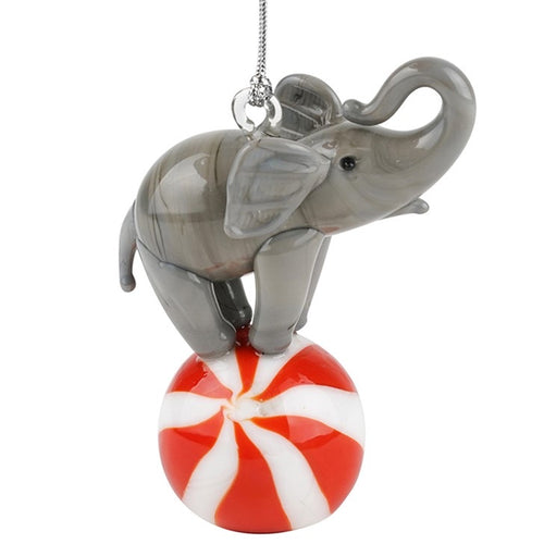 Glass Elephant on Ball Ornament