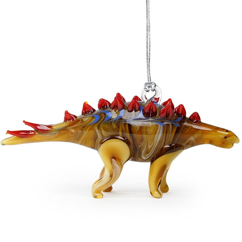 Glass Stegosaurus Dinosaur Ornament