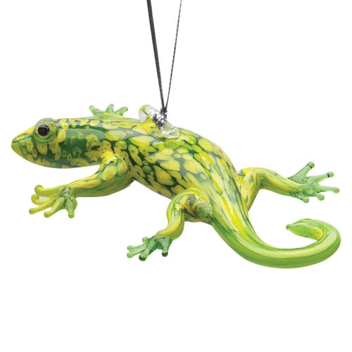 Glass Green Gecko Ornament