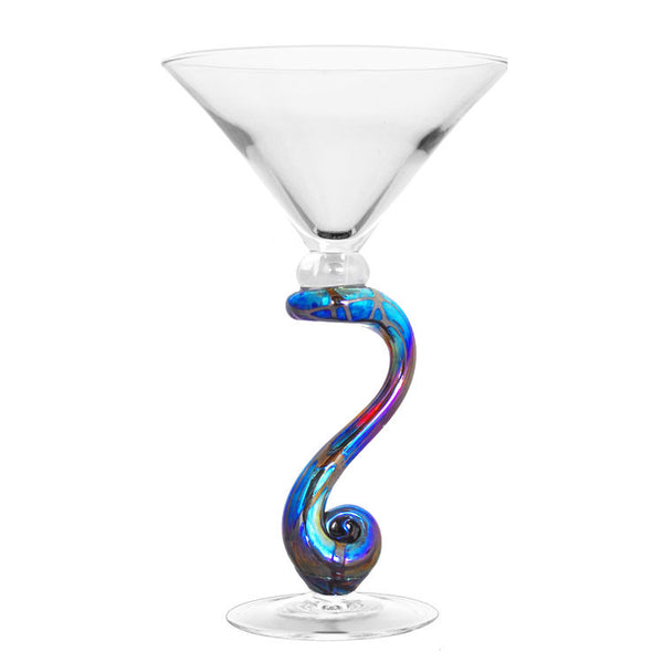 Iridescent Curved Stem Martini Glass