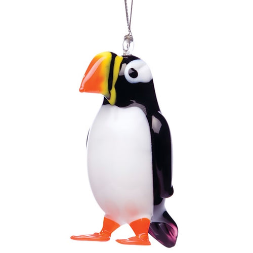 Glass Puffin Ornament