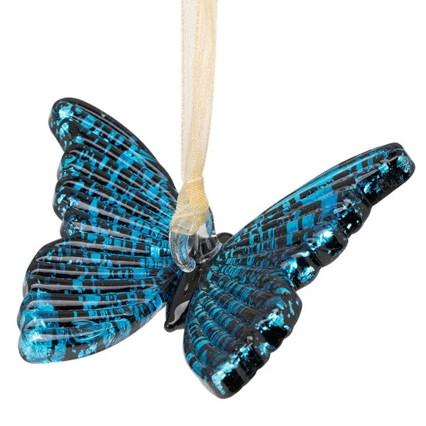 Glass Blue Butterfly Ornament