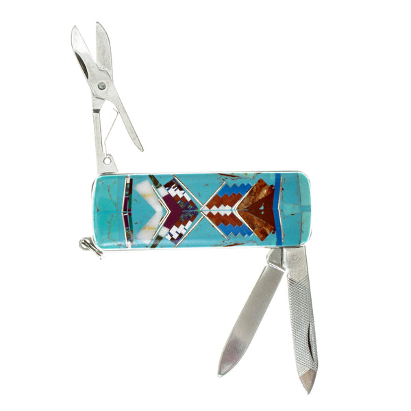Money Clip Knife Turquoise Inlay