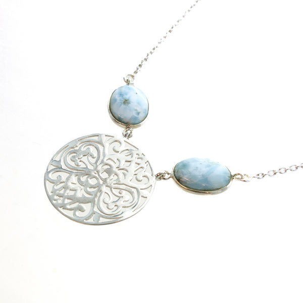 SS Larimar and Filigree Necklace