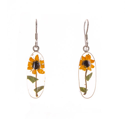 Sterling Silver Resin Sunflower Earrings