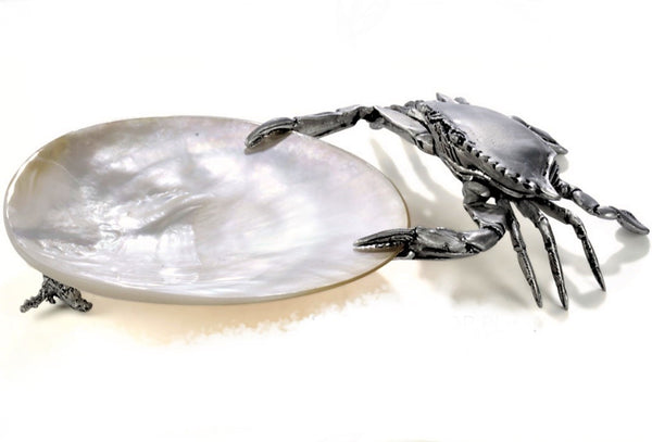 Mother Of Pearl Pewter Crab Plate