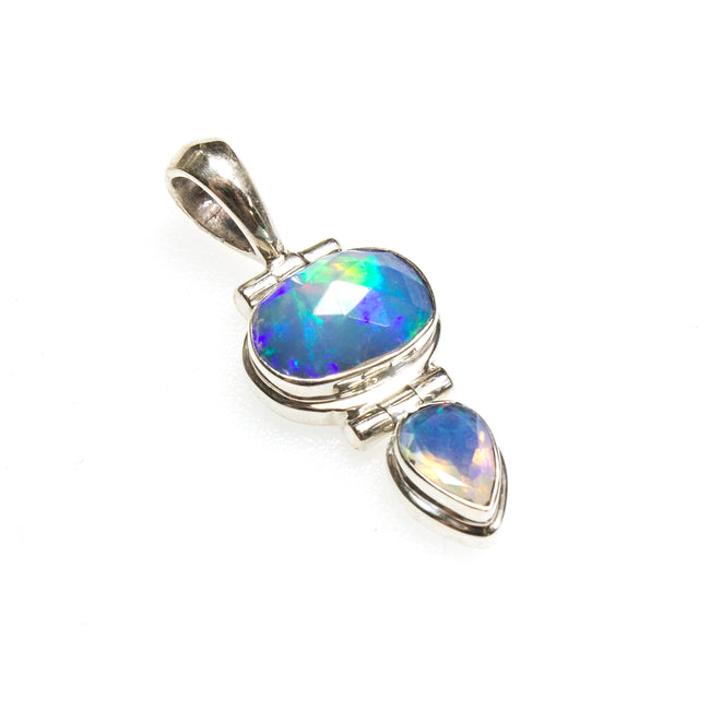 SS Faceted Ethiopian Opal Oval and Pear Pendant