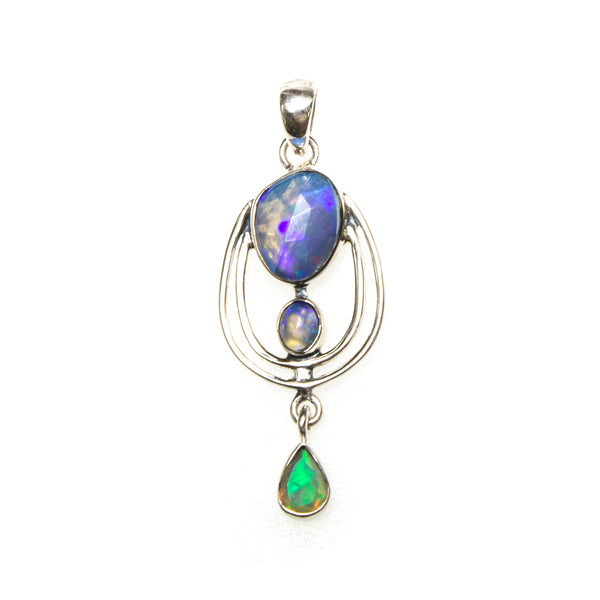 SS Faceted Ethiopian Opal in Orbit Pendant