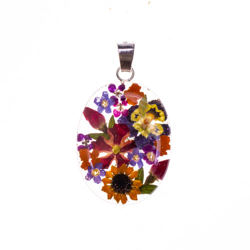 Sterling Silver Oval Resin Bouquet Pendant