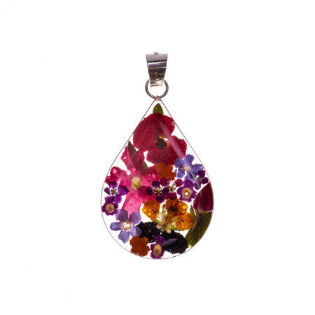 Sterling Silver Resin Oval Purple Bouquet Earrings