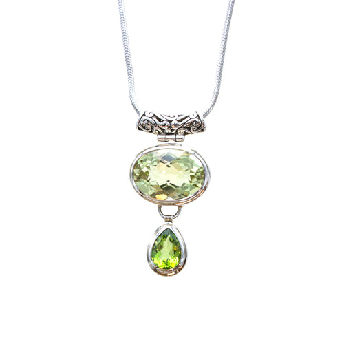 SS Checkerboard Lemon Quartz & Peridot Pear Scroll Slide Necklace