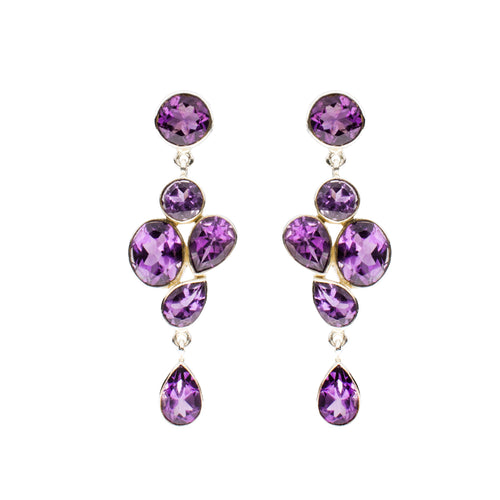 Sterling Silver Amethyst Drop Earrings