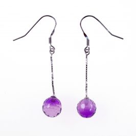 Sterling Silver Created Amethyst Sphere 10mm Earrings