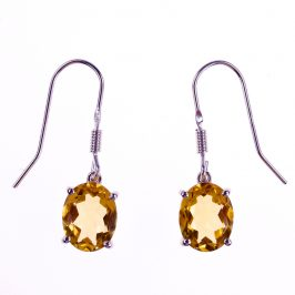 Sterling Silver Created Citrine Oval Earrings