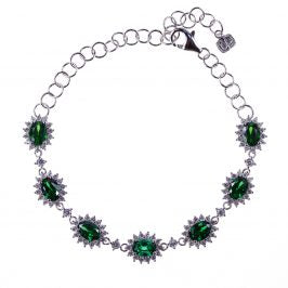 Sterling Silver Created Emerald & CZ 7 Oval Bracelet