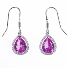 Sterling Silver Created Pink Sapphire & CZ Pear Earrings