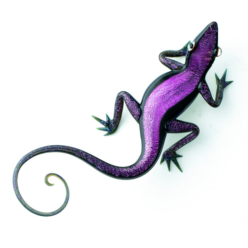 Art Glass Gecko Dichroic Purple