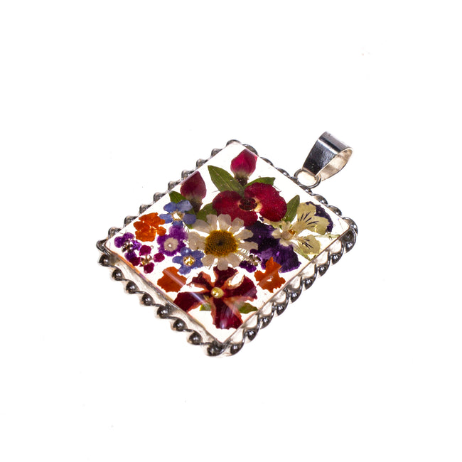 Sterling Silver Resin Rectangle Bouquet Pendant