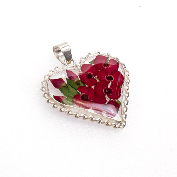 Sterling Silver Resin Red Heart Bouquet Pendant