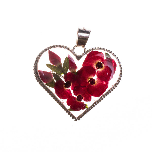 Sterling Silver Red Resin Rope Heart Bouquet Pendant