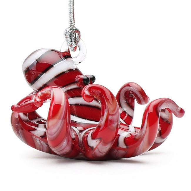 Red Striped Octopus Ornament