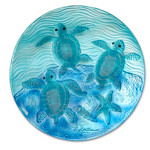 Round Glass Seaturtle Plate