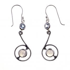 Sterling Silver Rainbow Moonstone & Blue Topaz Earrings