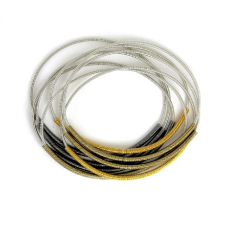 Silver Recycled Piano Wire Bracelet with Multicolor Sleeves