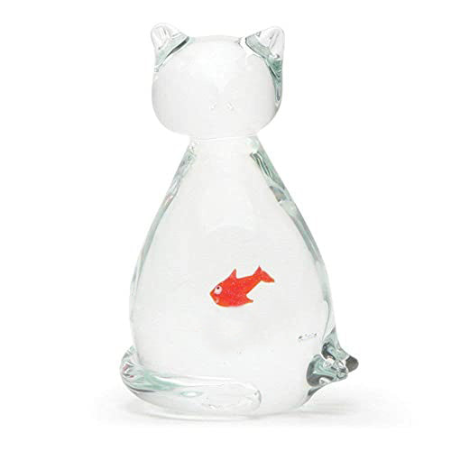 Glass Cat Ate Fish Figure