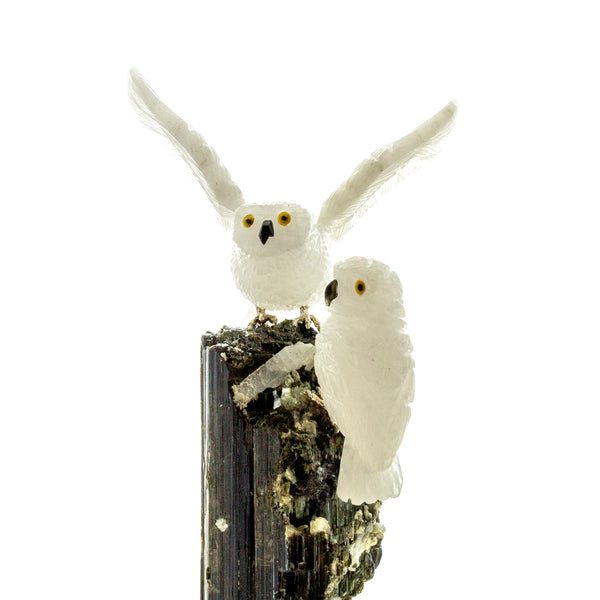 Carved White Quartz Snowy Owls on Black Tourmaline Sculpture