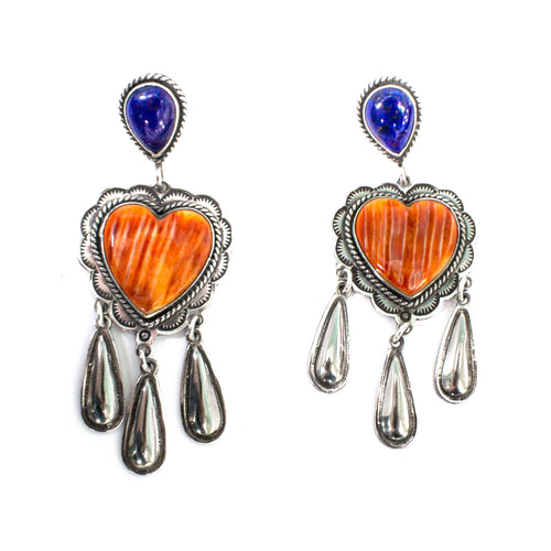 SS Handmade Navajo Spiny Oyster Heart and Lapis Dangle Earrings