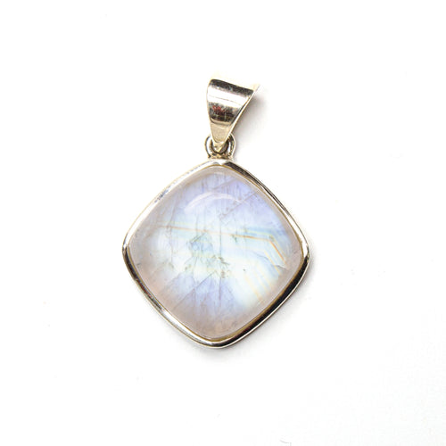 SS Square Cushion Rainbow Moonstone Pendant
