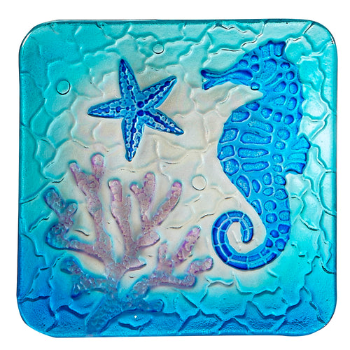 Square Glass Seahorse Plate