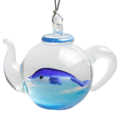 Glass Teapot Dolphin Ornament