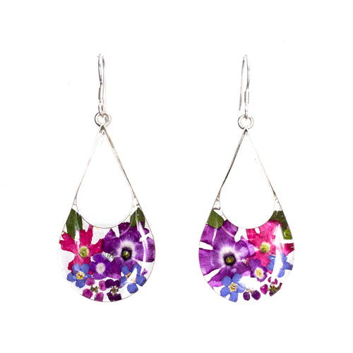 Sterling Silver Pear Resin Bouquet Earrings