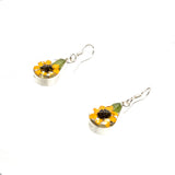 Sterling Silver Pear Resin Sunflower Earrings
