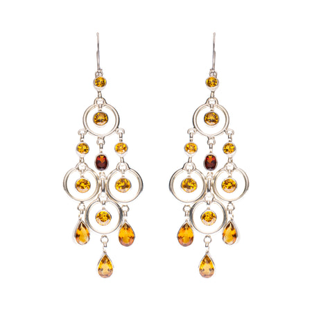 SS Citrine Oval Bezel Earrings