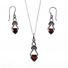 Sterling Silver Celtic Heart Garnet Earrings & Necklace Set